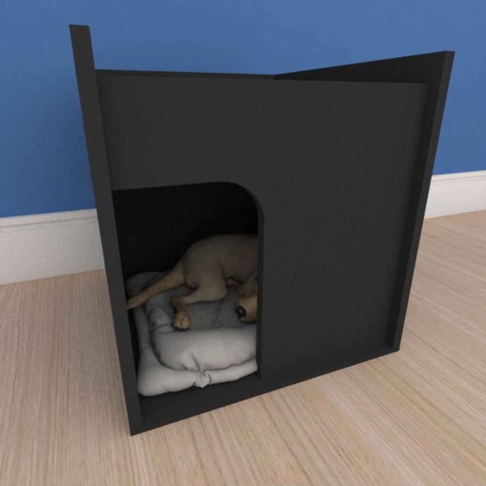 Caminha compacta pequeno cachorro em mdf preto