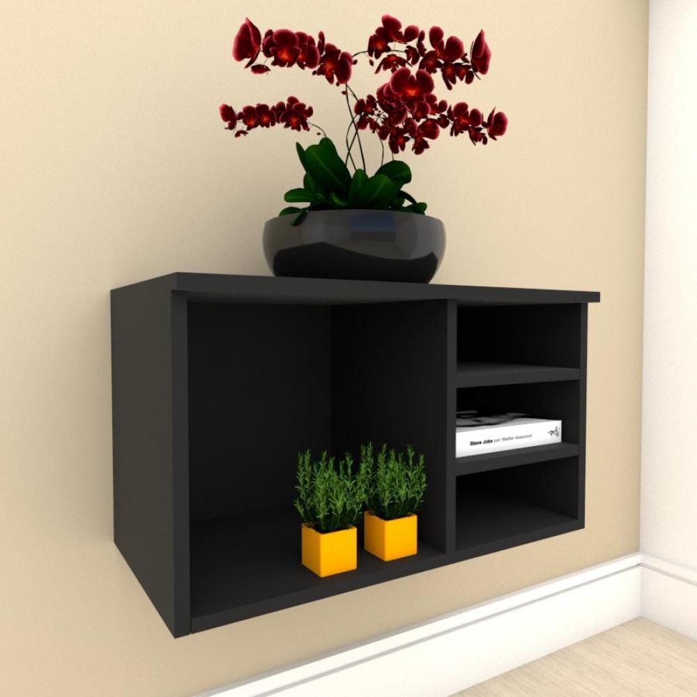 Aparador minimalista com nichos em mdf Preto