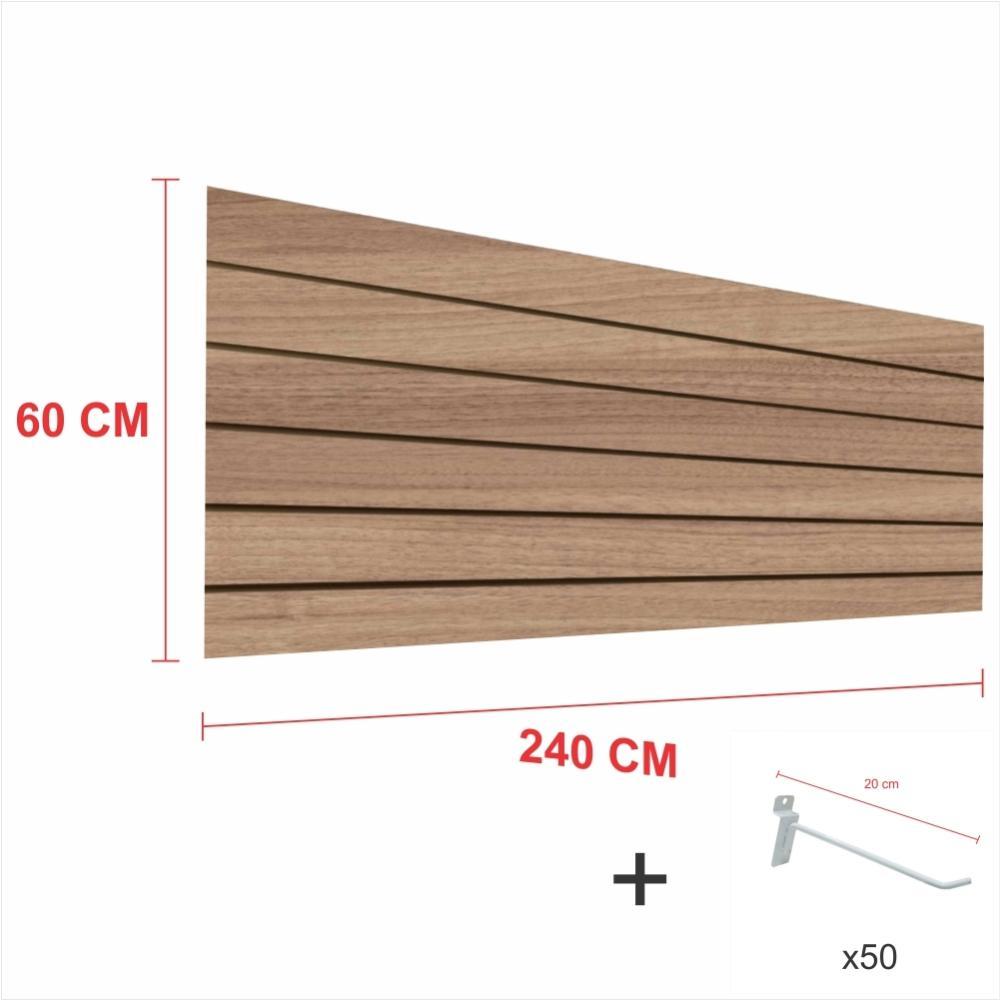 Expositor canaletado amadeirado alt 60 cm comp 240 cm mais 50 ganchos 20 cm