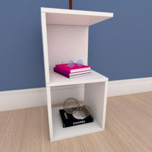 Mesa de cabeceira simples nicho em mdf branco