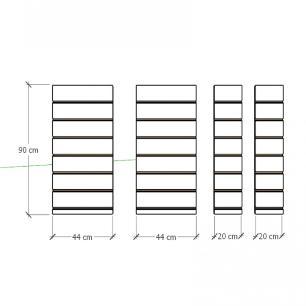 Kit 4 Painel canaletado para pilar amadeirado escuro 2 peças 44(L)x90(A)cm + 2 peças 20(L)x90(A)cm