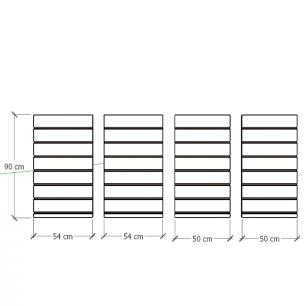 Kit 4 Painel canaletado para pilar vermelho escuro 2 peças 54(L)x90(A)cm + 2 peças 50(L)x90(A)cm