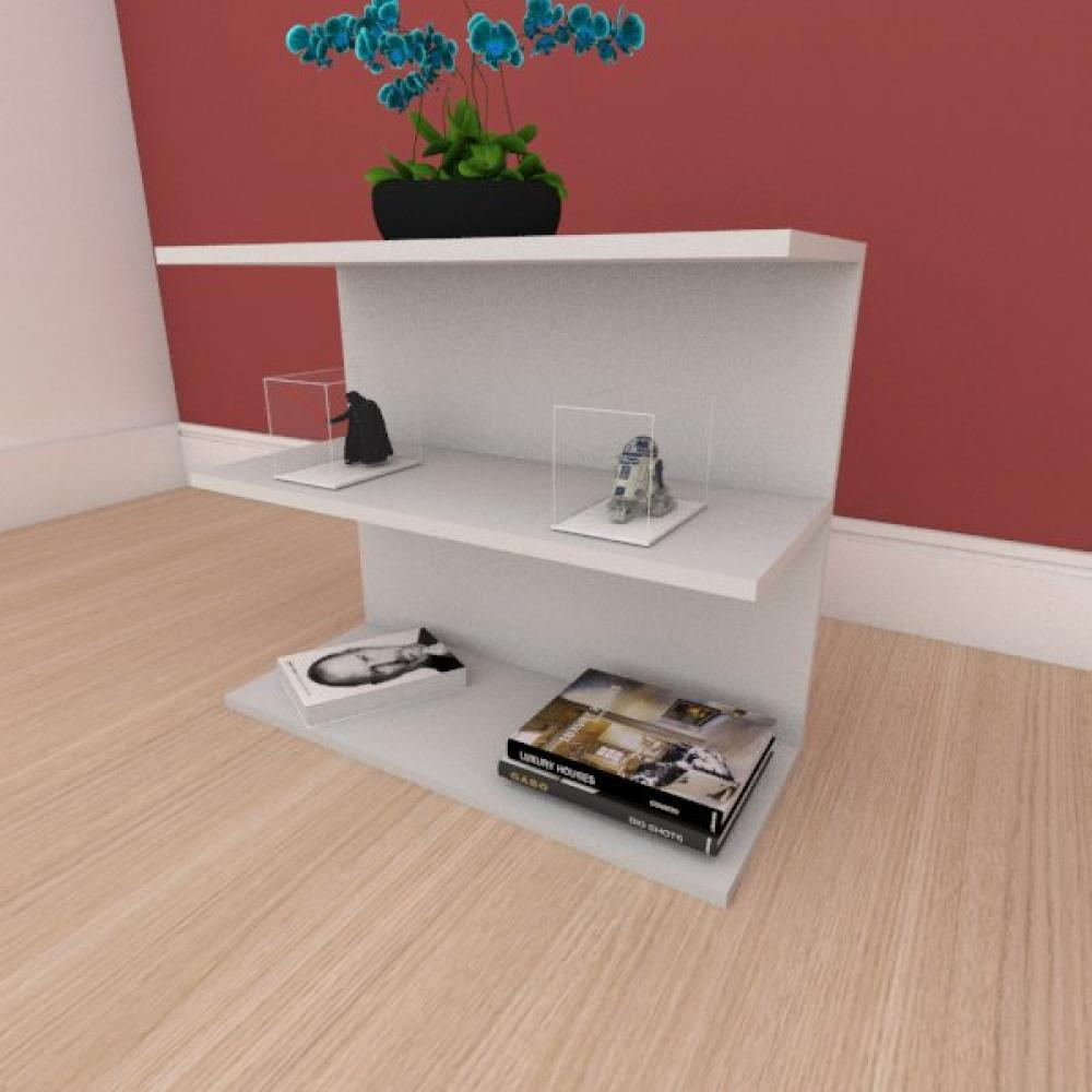 Mesa Lateral minimalista moderna em mdf cinza