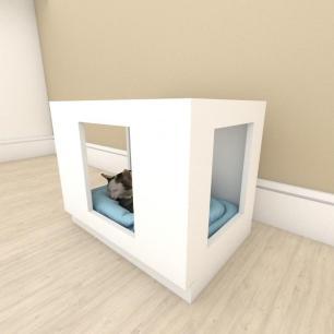 Mesa de cabeceira bercinho para Gato em mdf Branco