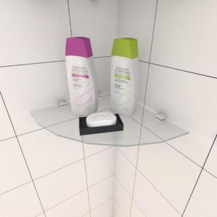 Kit com duas Prateleira para banheiro de canto 30 cm vidro temperado