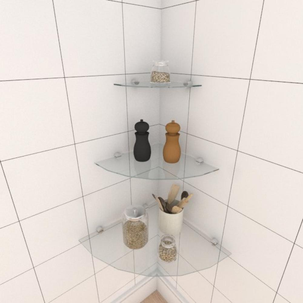 Kit com tres Prateleira para cozinha de canto 40 30 e 20 cm vidro temperado