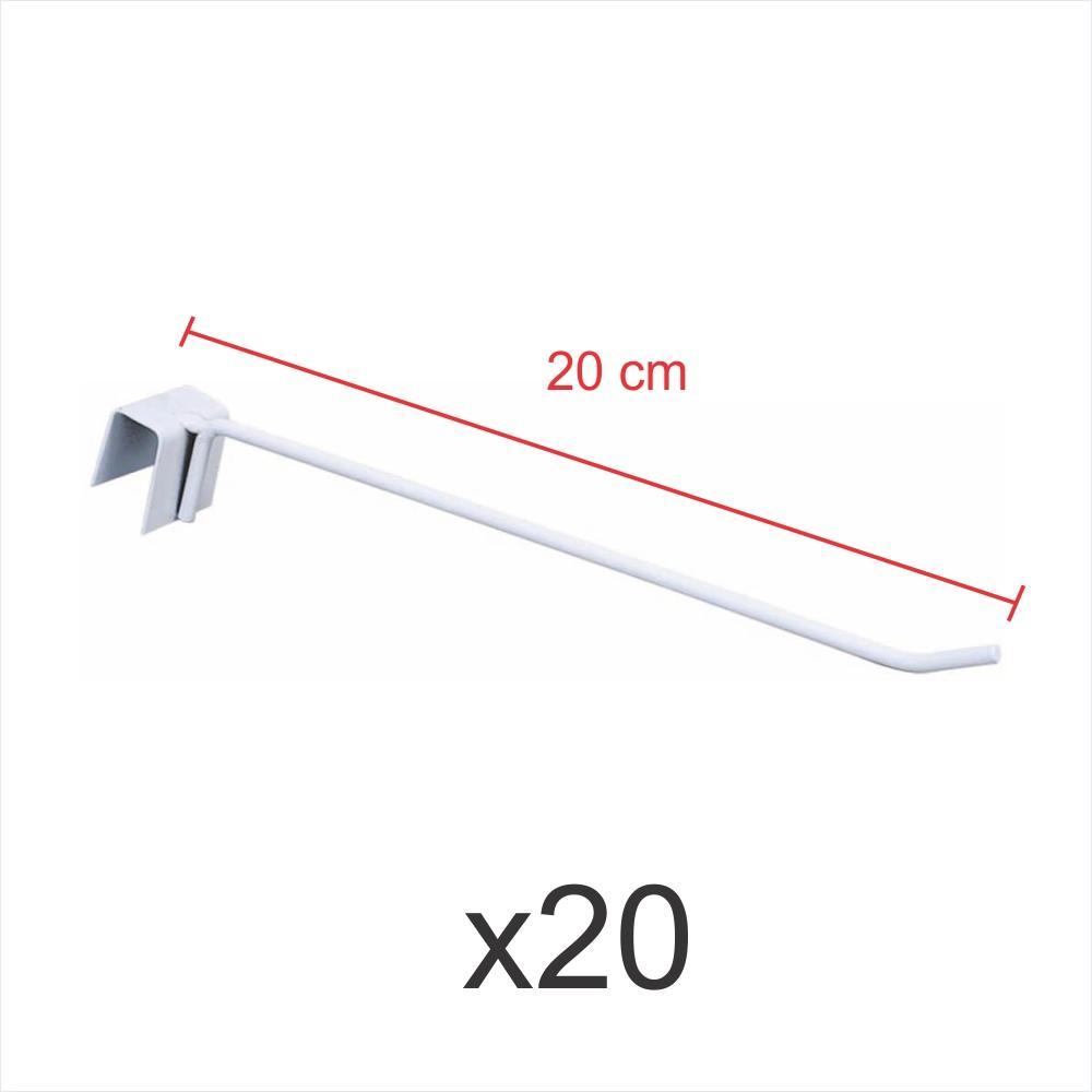 Kit com 20 ganchos 4mm branco de 20 cm para gondola, para porta gancheira 20x20 e 20x40