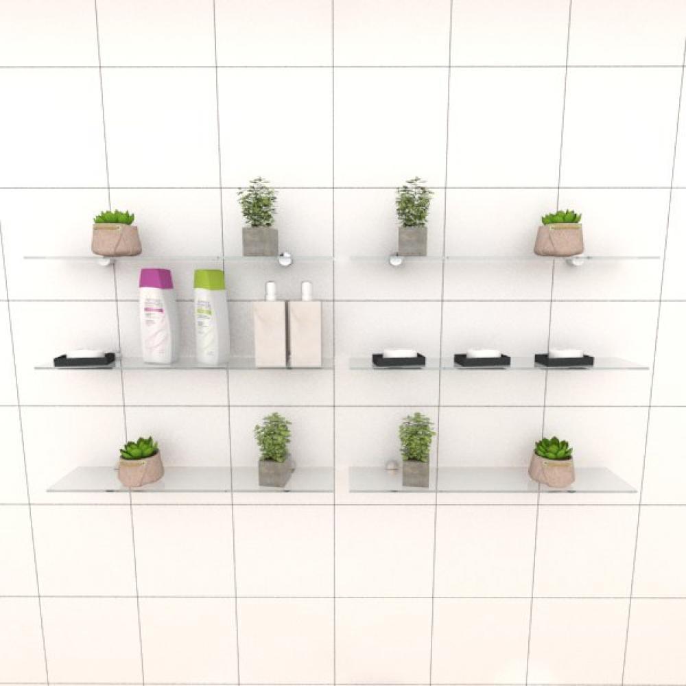 Kit com seis Prateleira para banheiro 50 cm vidro temperado