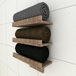 Prateleiras para toalhas amadeirado escuro