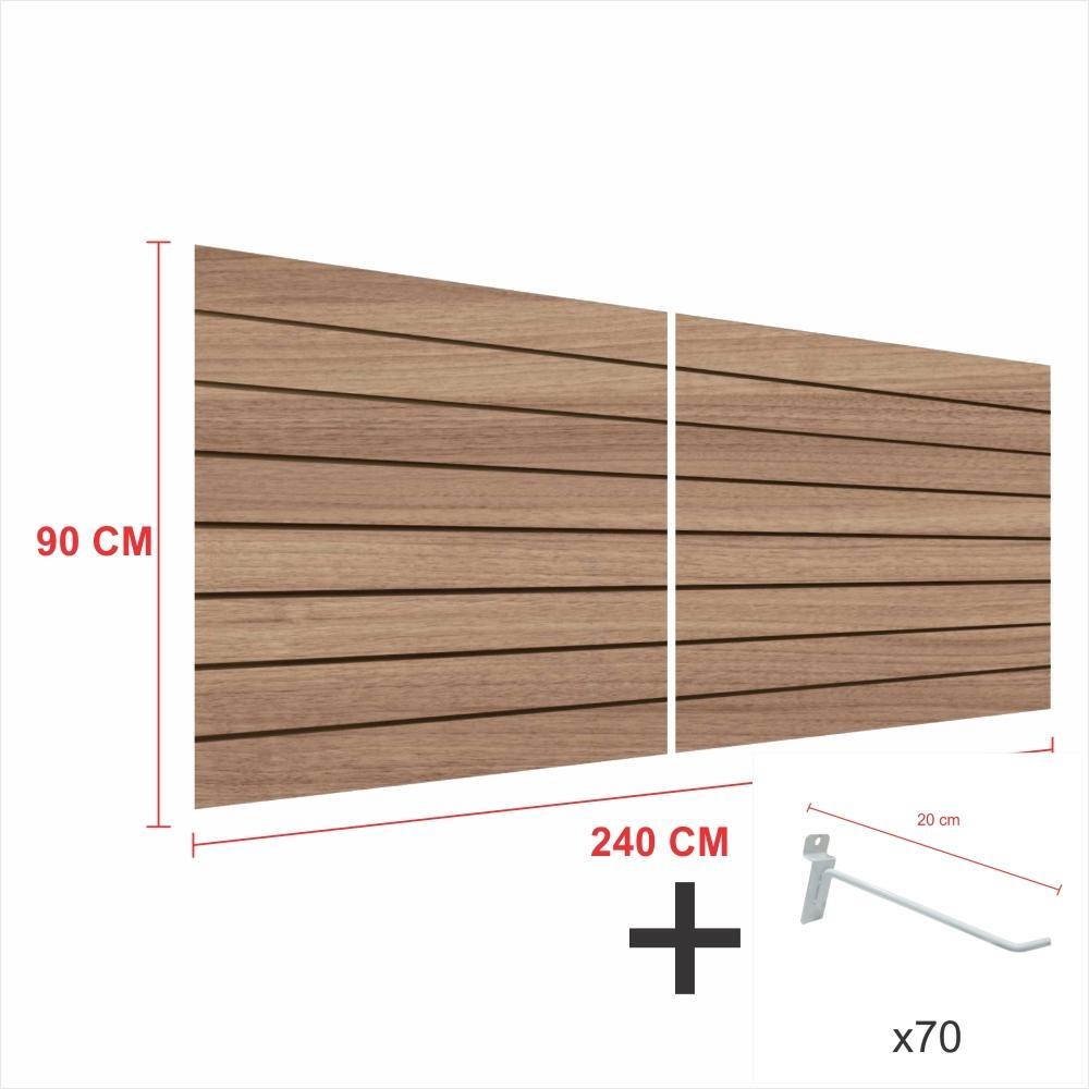 Kit Painel canaletado amadeirado alt 90 cm comp 240 cm mais 70 ganchos 20 cm