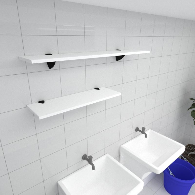 Kit 2 prateleiras lavanderia em MDF suporte tucano branco 1 60x20cm 1 90x20cm modelo pratlvb17