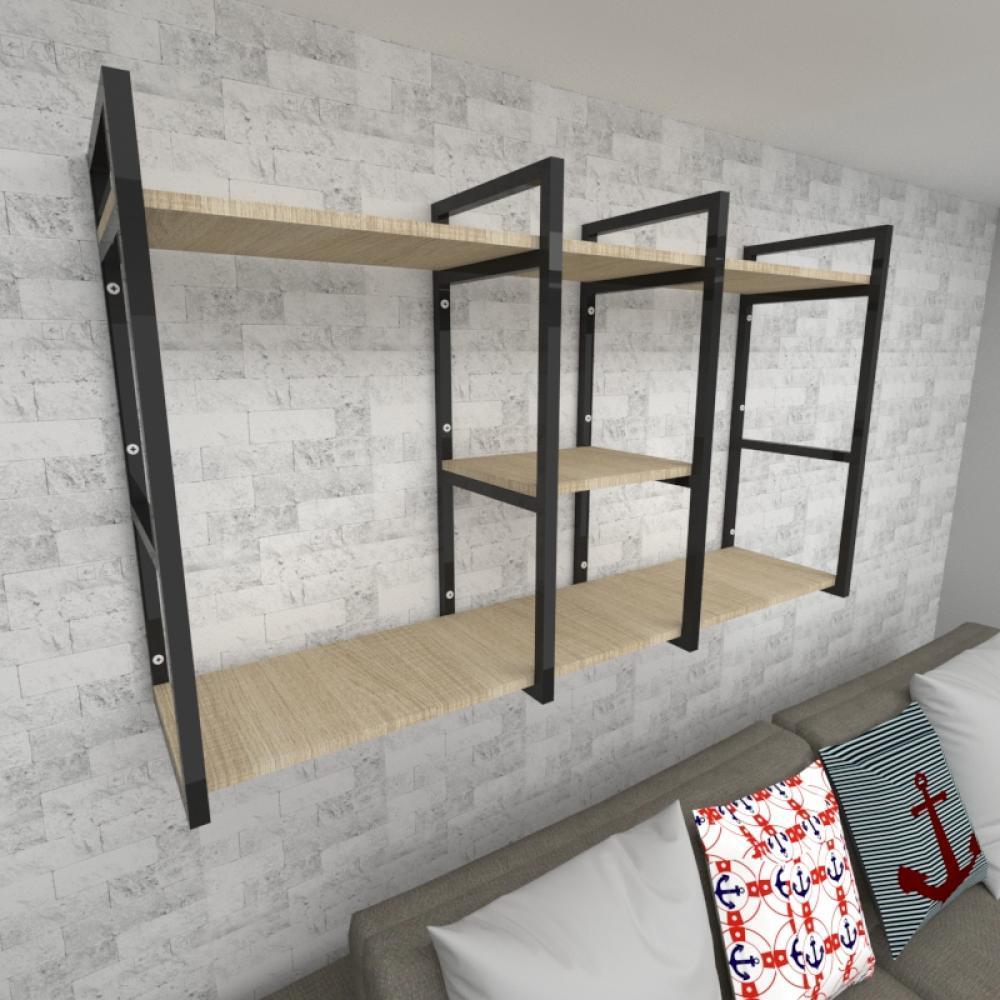 Prateleira industrial para Sala aço preto prateleiras 30 cm cor amadeirado claro modelo ind18acsl