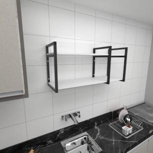 Prateleira industrial para cozinha aço cor preto prateleiras 30 cm cor branca modelo ind21bc