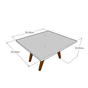 Mesa de Centro quadrada em mdf branco com 4 pés inclinados em madeira maciça cor tabaco