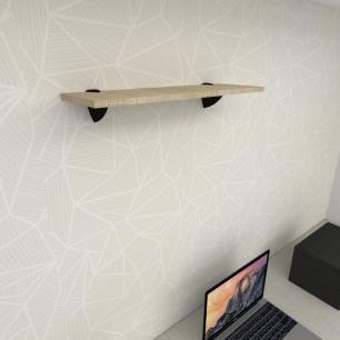 Prateleira para escritório MDF suporte tucano cor amadeirado claro 60(C)x20(P)cm modelo pratesamc10