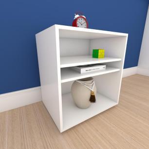 Mesa lateral para sofá formato S slim em mdf Branco
