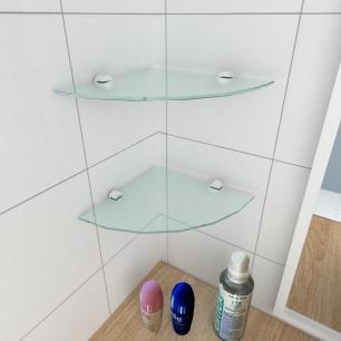 kit com 2 Prateleira para canto de vidro temperado para banheiro profundidade 20 cm