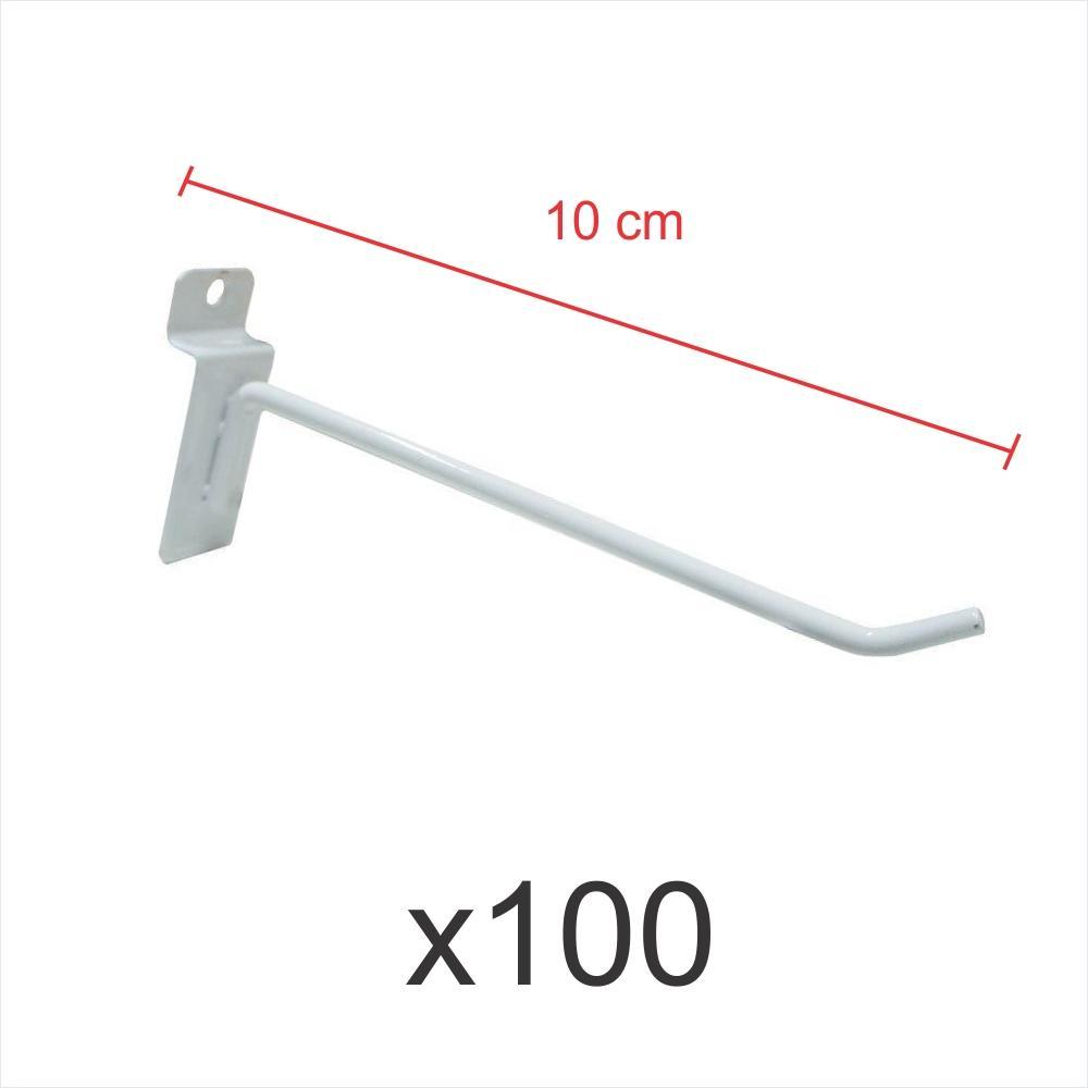 kit para expositor com 100 ganchos 4mm branco de 10 cm para painel canaletado
