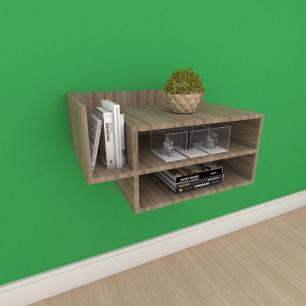 Mesa de cabeceira moderno simples duplo com nichos em mdf amadeirado