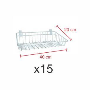 Pacote com 15 Cestos para painel canaletado 20x40 cm branco