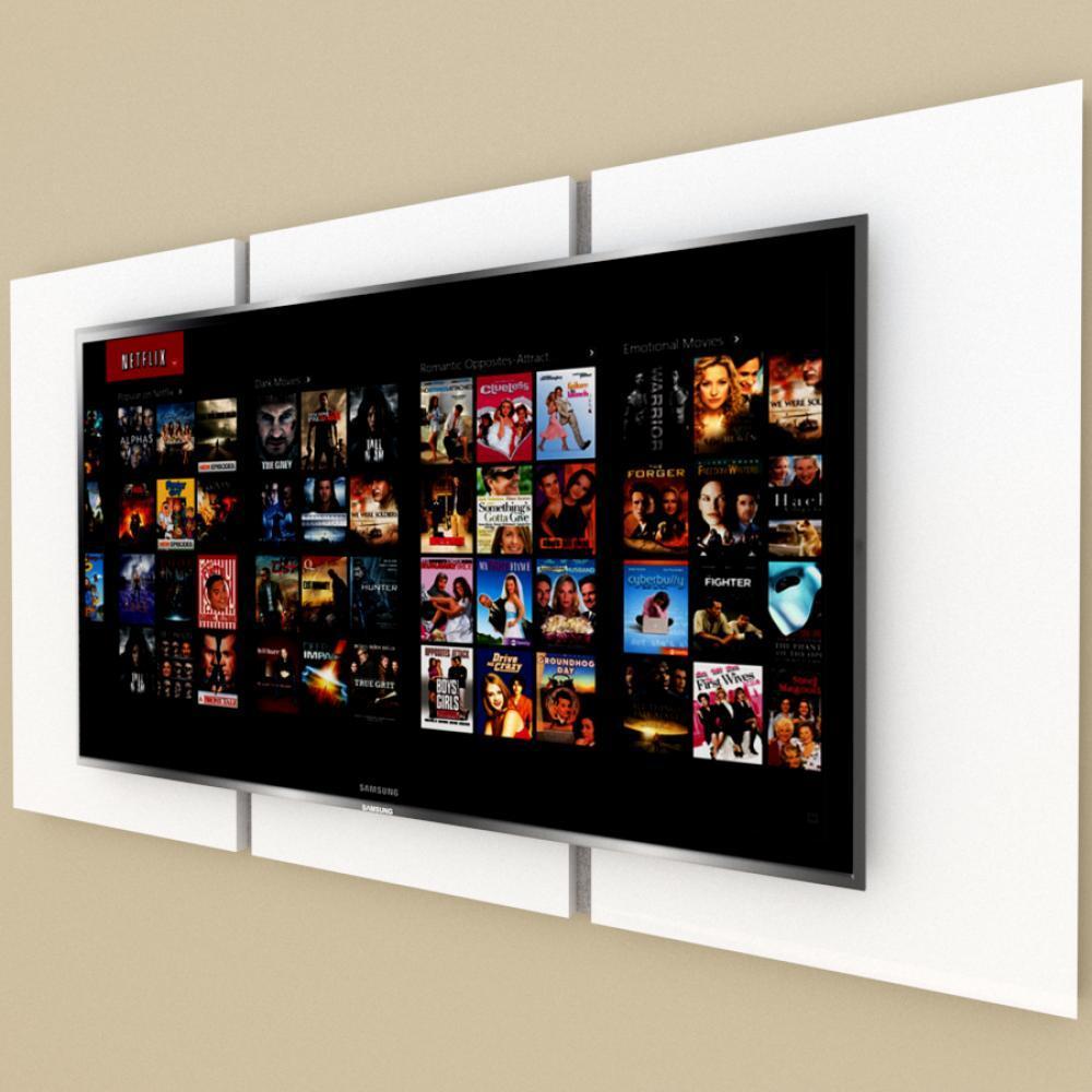 Painel Tv pequeno moderno branco com rustico