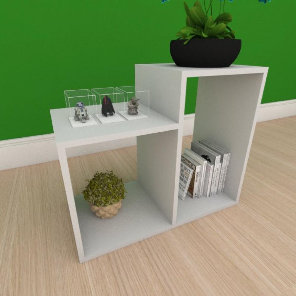 Mesa de cabeceira simples com 2 nicho em mdf cinza