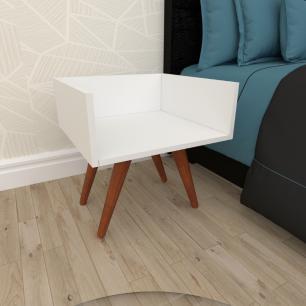 Mesa de Cabeceira minimalista em mdf branco com 4 pés inclinados em madeira maciça cor mogno