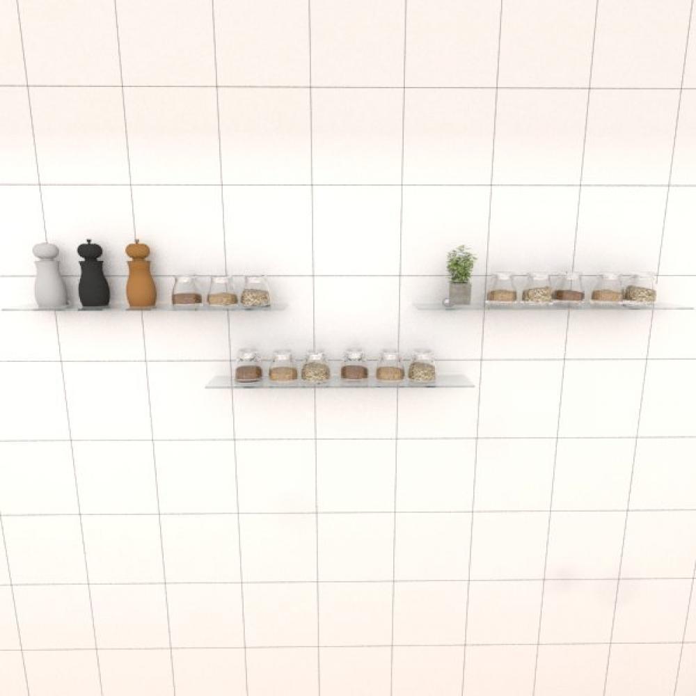 Kit com tres Prateleira para cozinha 60 cm vidro temperado