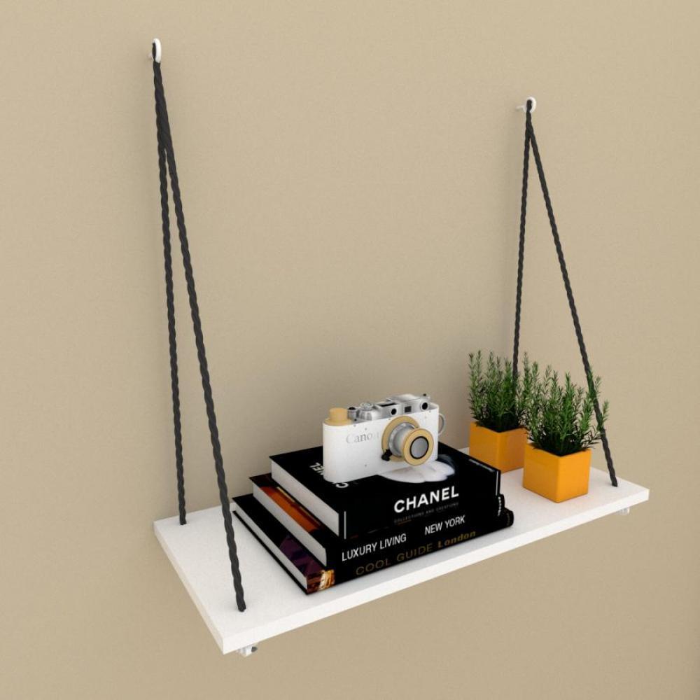 Prateleira moderna com cordas, 25x60 cm mdf Branco