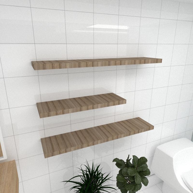 Kit 3 prateleiras banheiro MDF sup Inivisivel amadeirado escuro 1 60x20cm 2 90x20cm mod pratbname34