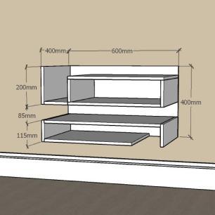 Mesa de Cabeceira pequeno com nichos prateleiras em mdf Cinza