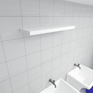 Prateleira para lavanderia MDF suporte Inivisivel cor branco 60(C)x20(P)cm modelo pratlvb28