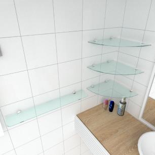 kit com 4 Prateleira de vidro temperado para banheiro 3 de 30 cm para canto e 1 de 60 cm reta