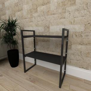 Mini estante industrial para escritório aço cor preto prateleiras 30cm cor preto modelo ind08pep