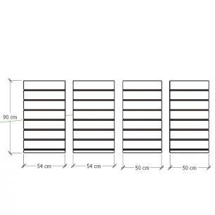 Kit 4 Painel canaletado para pilar cinza cristal 2 peças 54(L)x90(A)cm + 2 peças 50(L)x90(A)cm