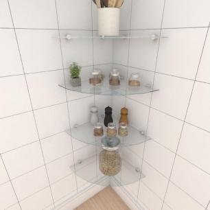 Kit com quatro Prateleira para cozinha de canto 40 cm vidro temperado