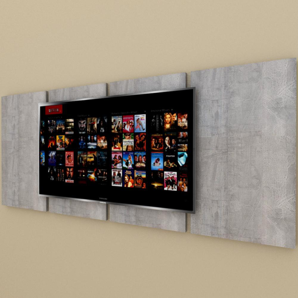 Painel Tv pequeno moderno Rustico com amadeirado claro
