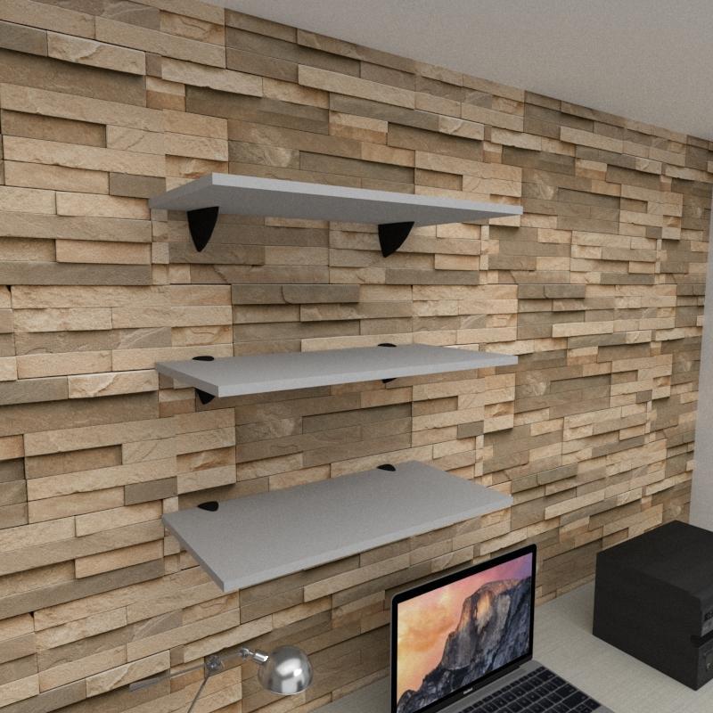 Kit 3 prateleiras para escritório em MDF suporte tucano cinza 60x30cm modelo pratesc06