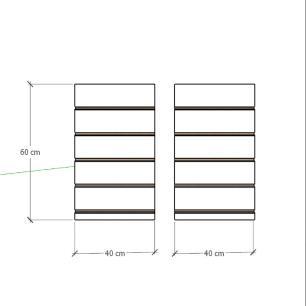 Kit 2 Painel canaletado para pilar preto 2 peças 40(L)x60(A)cm