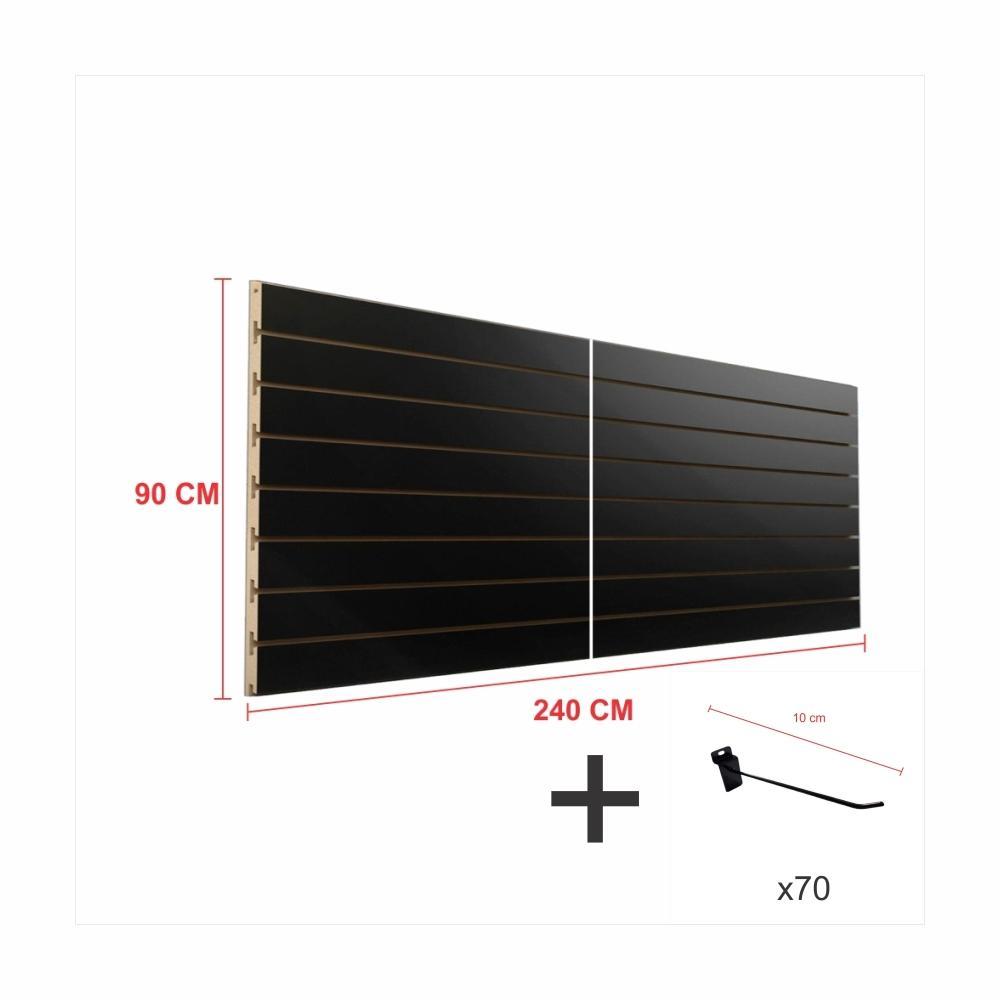 Expositor canaletado preto alt 90 cm comp 240 cm mais 70 ganchos 10 cm