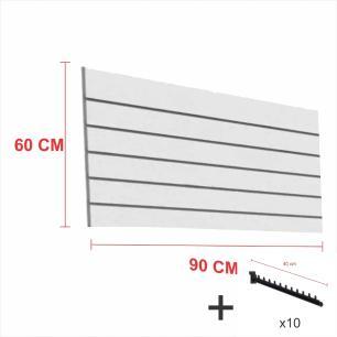 Expositor canaletado cinza alt 60 cm comp 90 cm mais 10 ganchos rt 40 cm para roupas