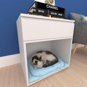 caminha criado gato gaveta mdf Cinza