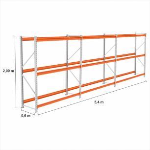 kit com 3 Expositor Mini Porta Pallet 1 inic + 2 cont 250KG Com 3 niveis 2,00X1,80X0,60 Sem Bandeja