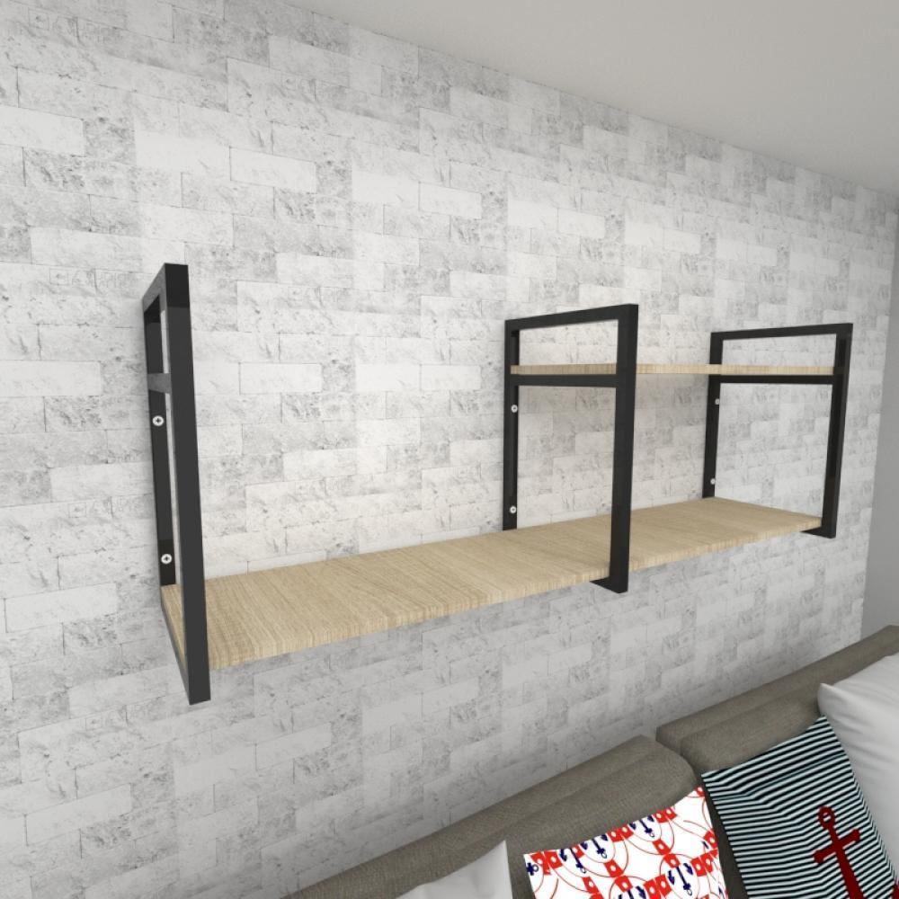 Prateleira industrial para Sala aço preto prateleiras 30 cm cor amadeirado claro modelo ind07acsl