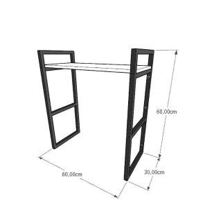 Prateleira industrial banheiro aço cor preto prateleiras 30cm cor amadeirado escuro mod ind15aeb