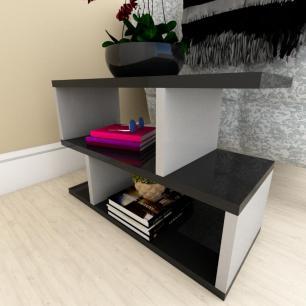Mesa de cabeceira moderna preto com cinza