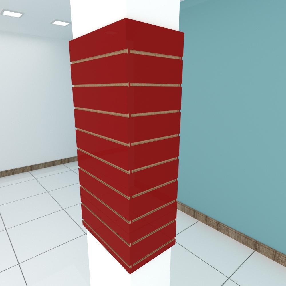 Kit 4 Painel canaletado para pilar vermelho escuro 2 peças 54(L)x120(A)cm + 2 peças 30(L)x120(A)cm