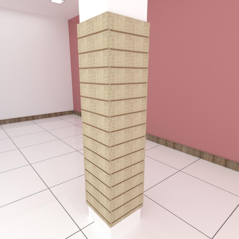 Kit 4 Painel canaletado para pilar amadeirado claro 2 peças 44(L)x180(A)cm + 2 peças 40(L)x180(A)cm
