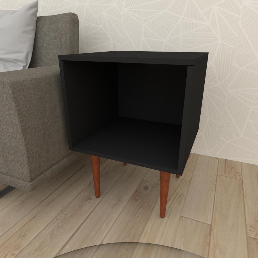 Mesa lateral moderna em mdf preto com 4 pés retos em madeira maciça cor mogno