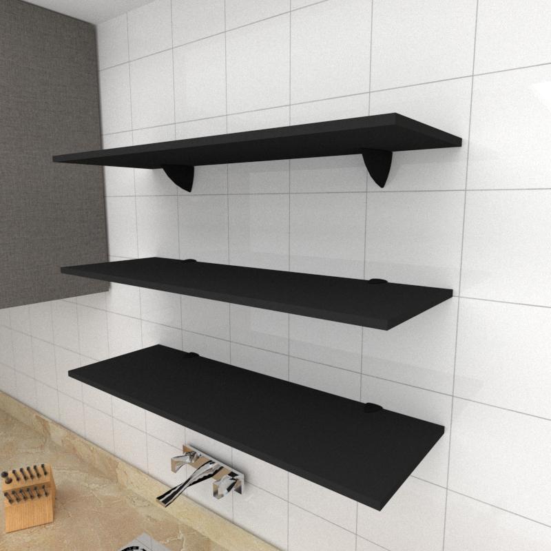 Kit 3 prateleiras para cozinha em MDF suporte tucano preto 90x30cm modelo pratcp03